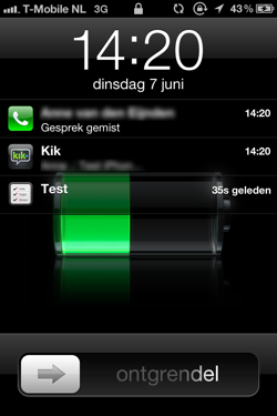 Notificaties op lockscreen