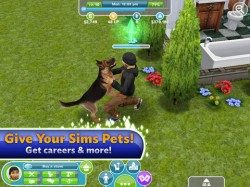 The Sims FreePlay knuffelen met hond iPad