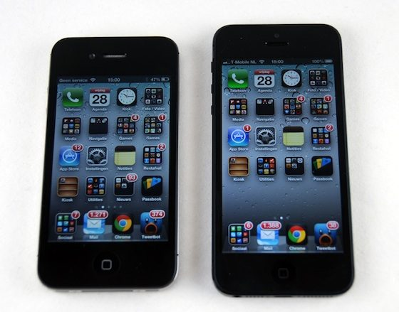 iPhone 5 naast iPhone 4S