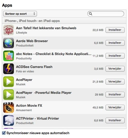 apps syncen itunes 2012