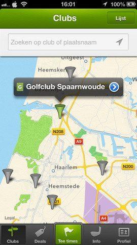 Golfy locaties op kaart