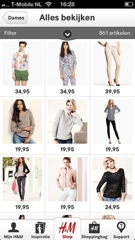 H&M iPhone-app vrouwenkleding