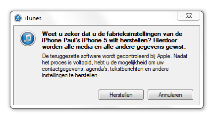iPhone herstellen met iTunes