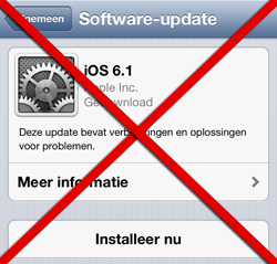 Voer geen Over The Air update uit naar iOS 6.1