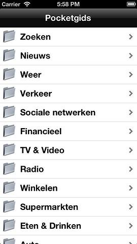 Pocketgids iPhone overzicht categorieën