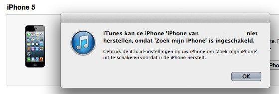 itunes herstellen zoek mijn iphone