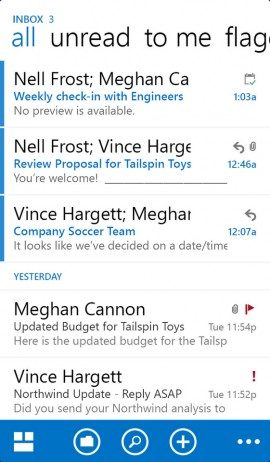 OWA for iPhone inbox Hotmail Outlook