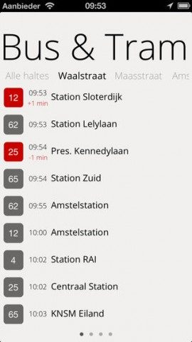 OV Delay vertrektijden-app iPhone tram bus