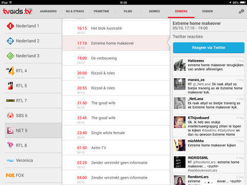 TVGiDS.tv tweeten over programma iPad