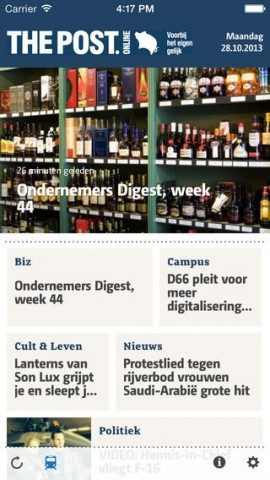 The Post Online voorpagina iPhone