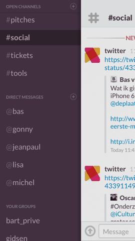 Slack App paars hoofdmenu chatkanalen