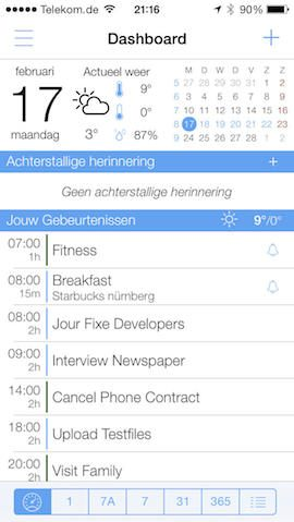 miCal dashboard entree iPhone