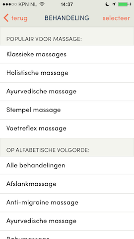 Treatwell iPhone massage kiezen